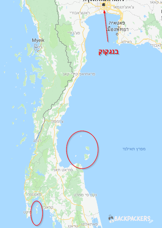 מפת האיים בדרום תאילנד