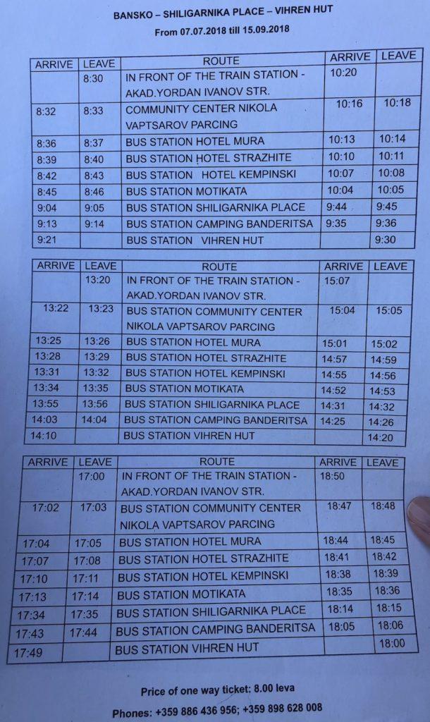 לוח הזמנים של האוטובס מבנסקו לויחרין
