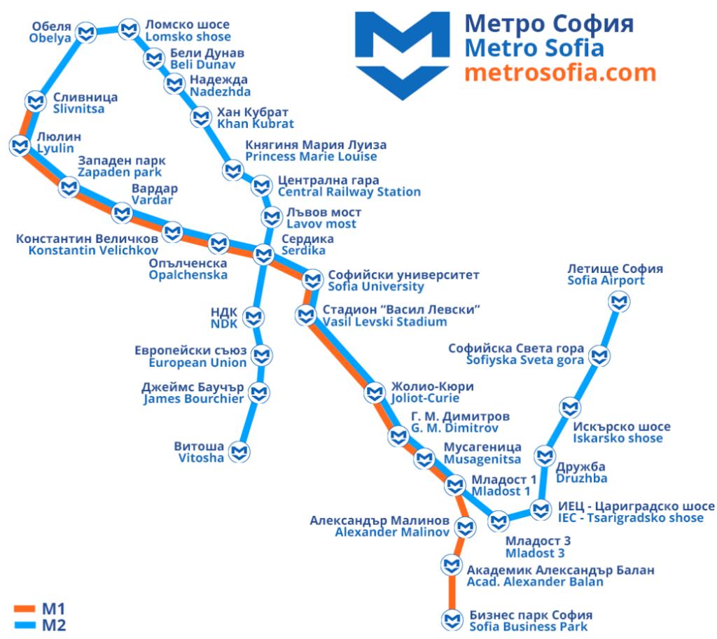 מפת המטרו של סופיה, בולגריה